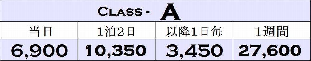 Aクラスの料金表
