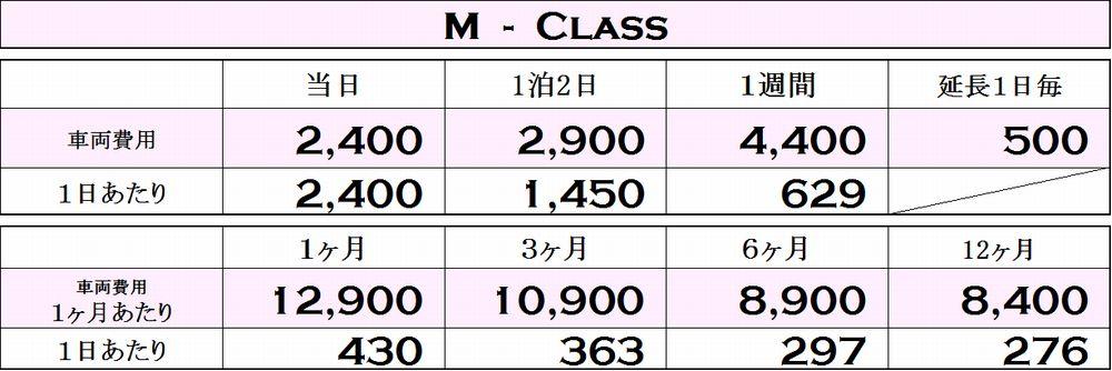 Mクラスの料金表