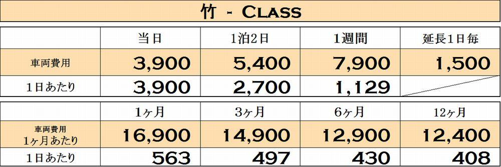 竹クラスの料金表