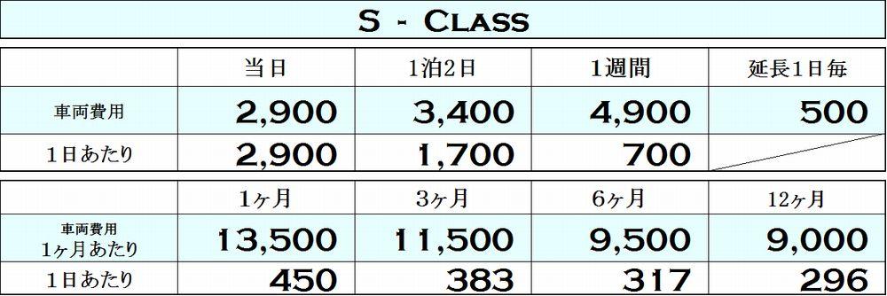 Sクラスの料金表
