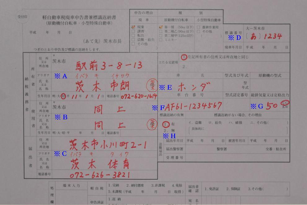茨木市役所廃車申告書兼標識返納書の記入例の画像