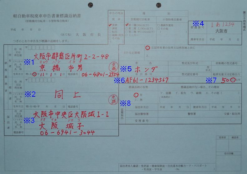 京橋市税事務所廃車申告書兼標識返納書の記入例の画像