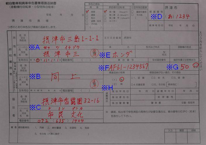 摂津市役所廃車申告書兼標識返納用紙の記入例の画像