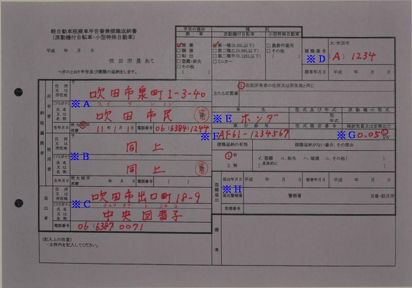 吹田市役所廃車申告書兼標識返納書の記入例の画像