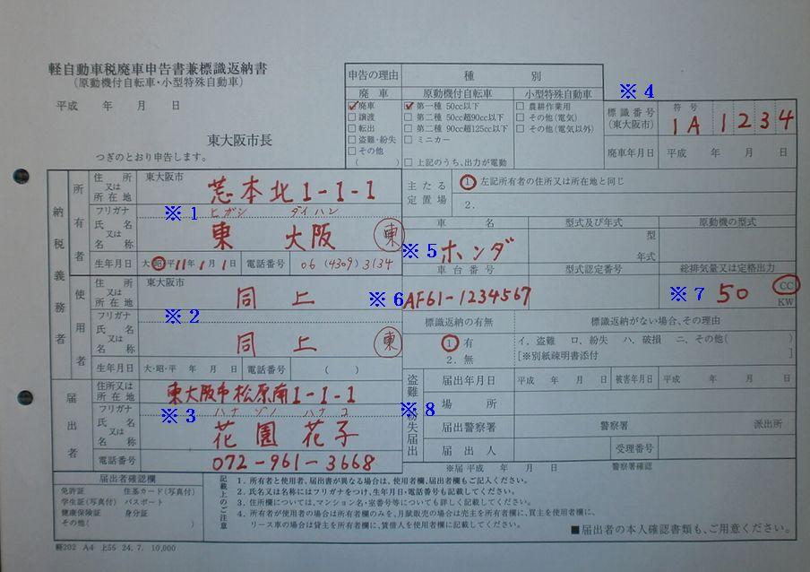 東大阪市役所の廃車申告書兼標識返納書の記入例の画像