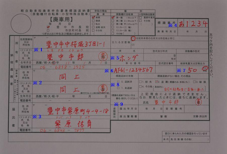 豊中市役所廃車申告書記入例の画像