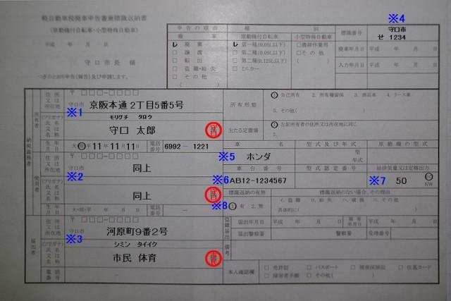 守口市役所 軽自動車税廃車申告書兼標識返納書の記入例