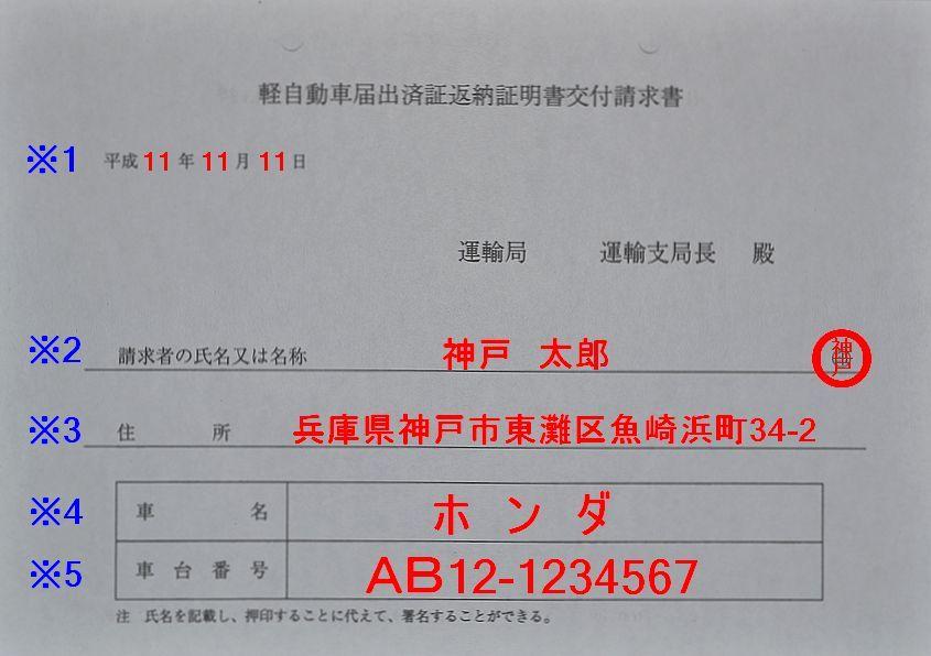 兵庫陸運部軽自動車届出済証返納証明書交付請求書の記入例の画像