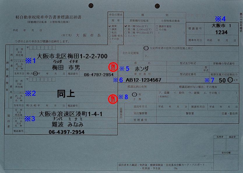 梅田市税事務所廃車申告書兼標識返納書記入例の画像