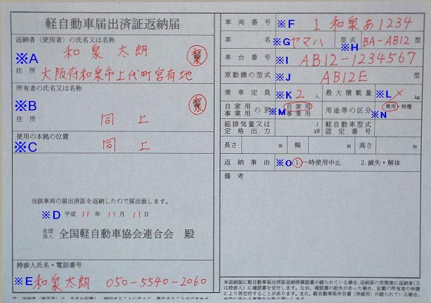 和泉陸運局軽自動車届出済証返納書の記入例の画像
