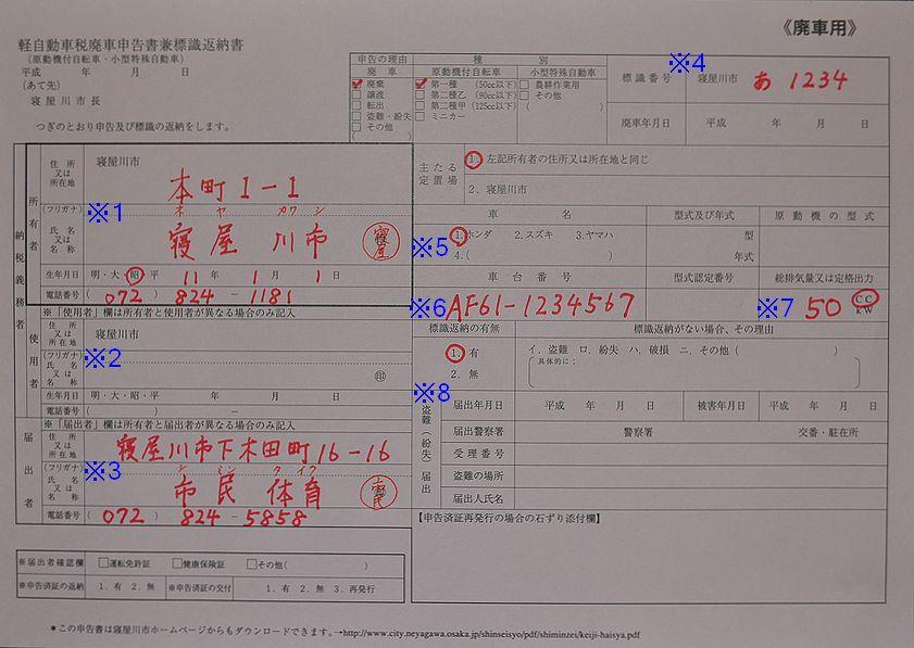 寝屋川市役所廃車申告書兼標識返納書の記入例の画像