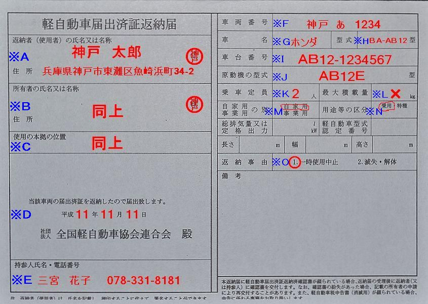 兵庫陸運部軽自動車届出済証返納届の記入例の画像