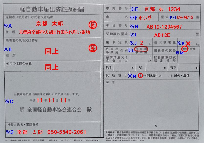 京都陸運支局軽自動車届出済返納届の記入例の画像