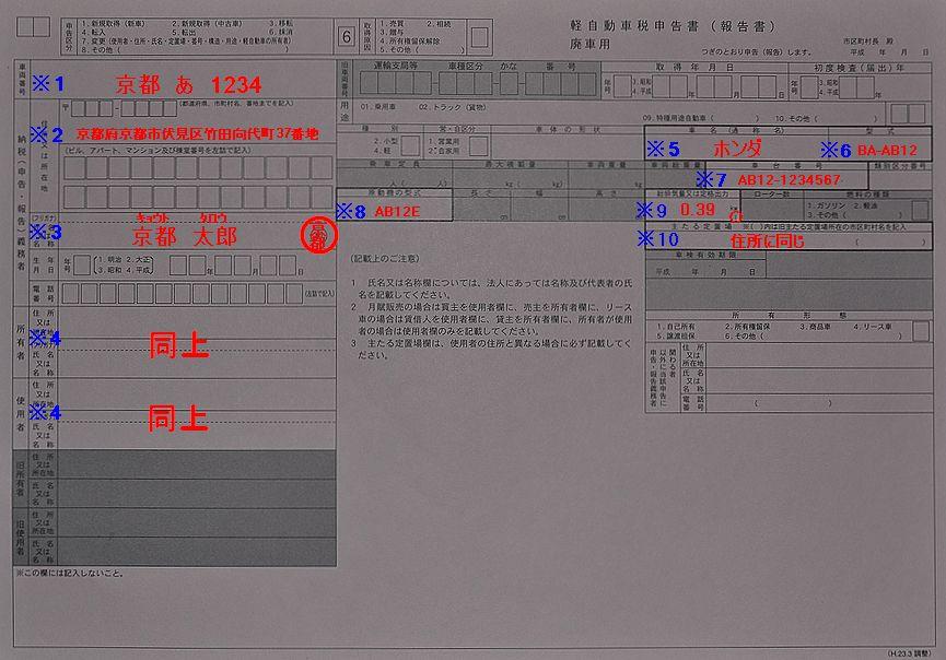 軽自動京都陸運支局車税申告書(廃車)用記入例の画像