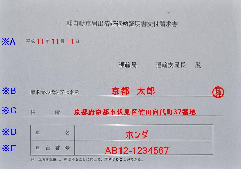 軽自動車届出済証返納証明書交付請求書の記入例の画像