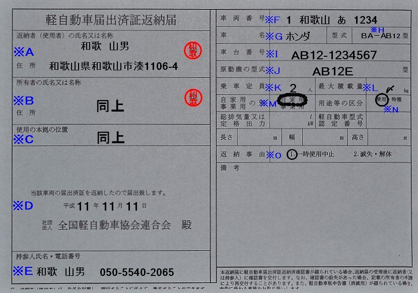 和歌山運輸支局軽自動車届出済証返納届の記入例
