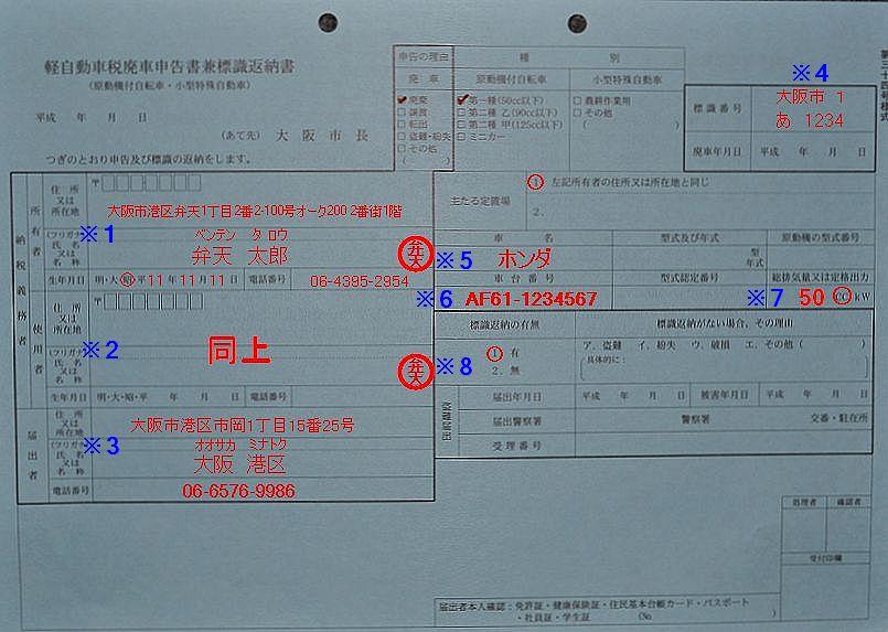 弁天市税事務所軽自動車税廃車申告書兼標識返納書記入例の画像