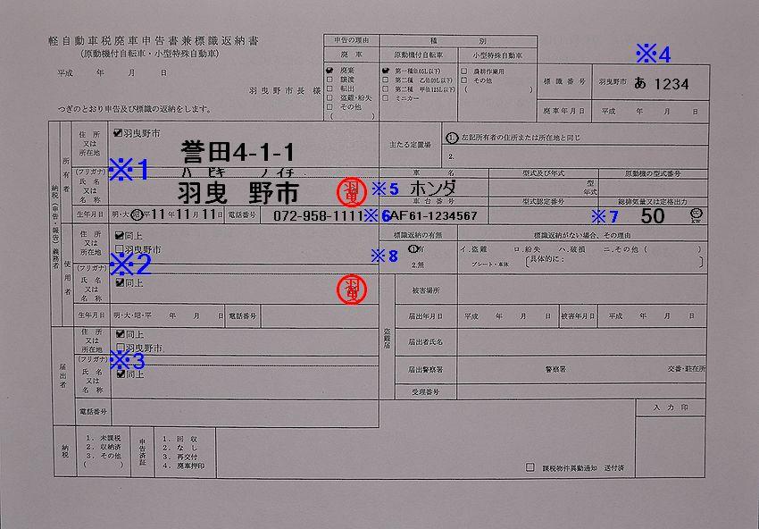 羽曳野市役所軽自動車税廃車申告書兼標識返納書記入例の画像