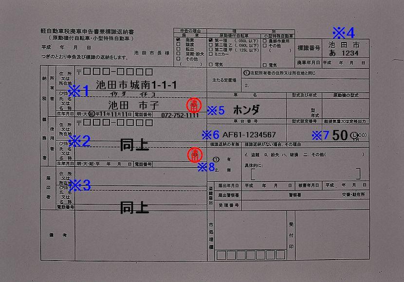 池田市役所軽自動車税廃車申告書兼標識返納書記入例