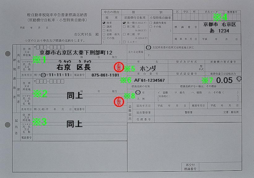 右京区役所軽自動車税廃車申告書兼標識返納書記入例
