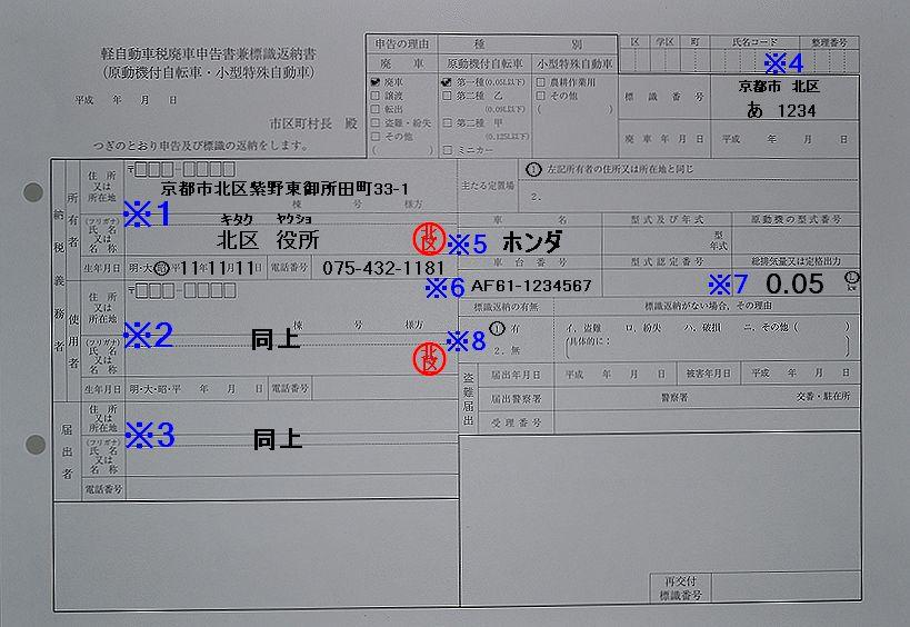 京都市北区軽自動車税廃車申告書兼標識返納書記入例