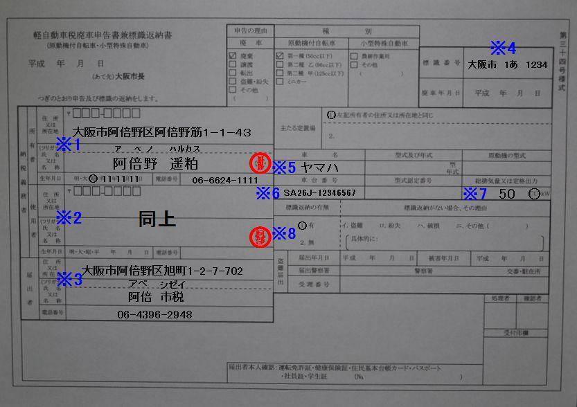 あべの市税事務所軽自動車税廃車申告書兼標識返納書記入例