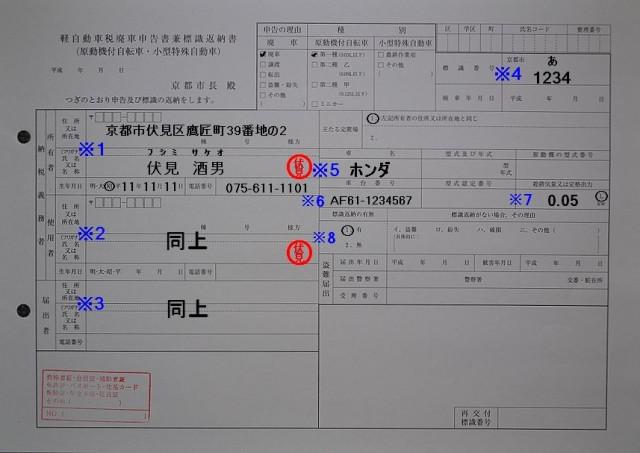 京都市伏見区役所廃申告書兼標識返納書記入例