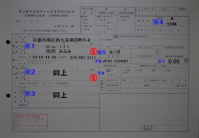 京都市南区役所廃申告書兼標識返納書記入例