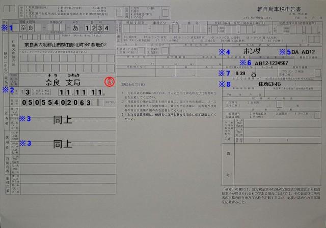 軽自動車税申告書(廃車)用記入例