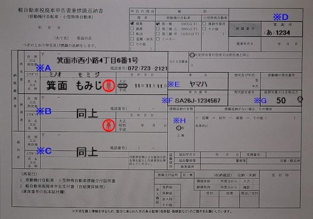 箕面市役所軽自動車税廃申告書兼標識返納書記入例