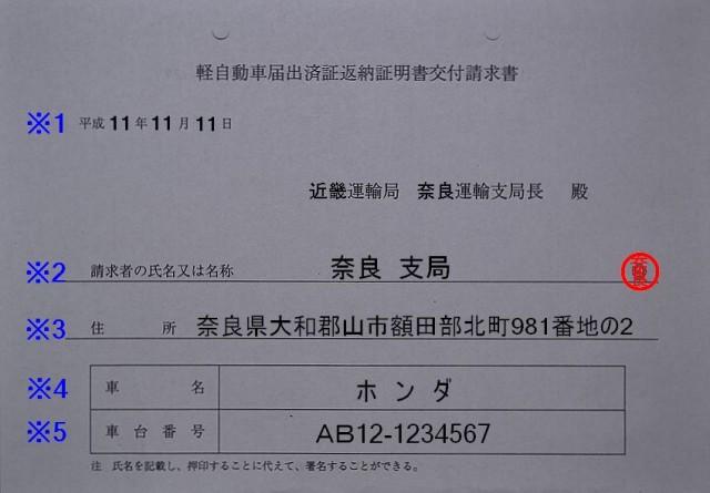 軽自動車届出済証返納証明書交付請求書の記入例