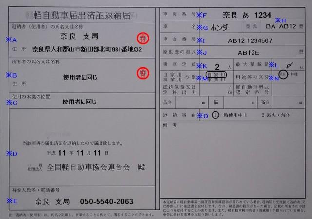 軽自動車届出済証返納届の記入例