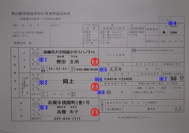 樫田支所 軽自動車税廃車申告書兼標識返納書 記入例