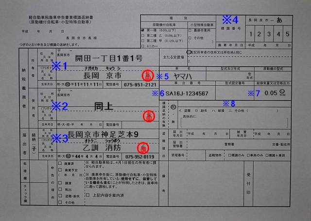 長岡京市役所軽自動車税廃申告書兼標識返納書記入例
