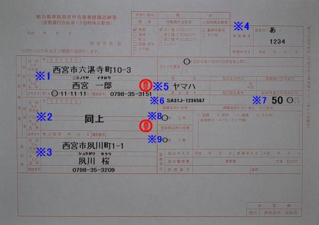 西宮市役所軽自動車税廃車申告書兼標識返納書 記入例