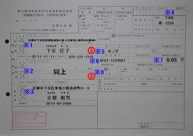 下京区役所軽自動車税廃車申告書兼標識返納書記入例
