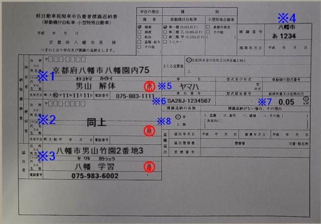 八幡市役所廃車申告書兼標識返納書記入例
