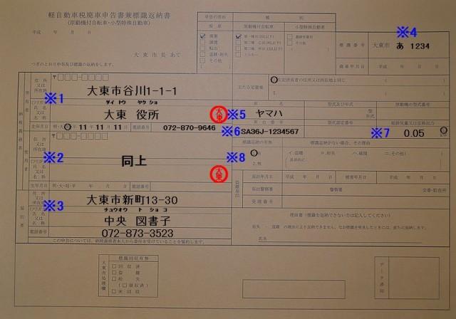大東市役所軽自動車税廃申告書兼標識返納書記入例