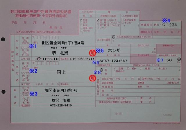 堺市北市税事務所 軽自動車税廃車申告書兼標識返納書記入例