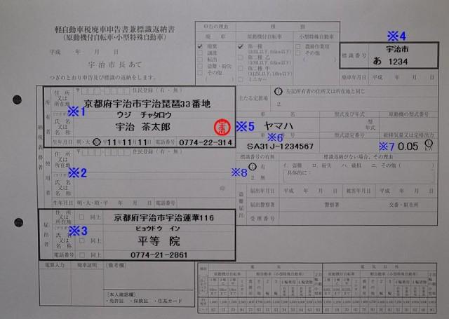 宇治市役所 軽自動車廃車申告書兼標識返納書の記入例