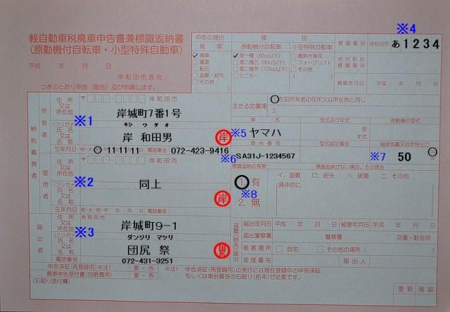 岸和田市役所 軽自動車税廃車申告書兼標識返納書の記入例