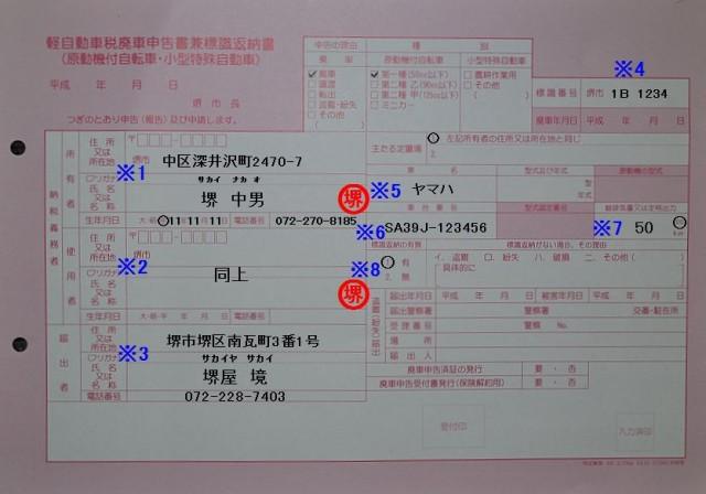 堺市中区市税事務所 軽自動車税廃車申告書兼標識返納書の記入例