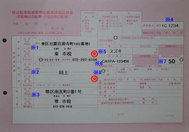堺市税事務所 軽自動車税廃車申告書兼標識返納書の記入例