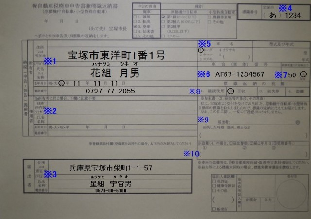 宝塚市役所 軽自動車廃車申告書兼標識返納書の記入例