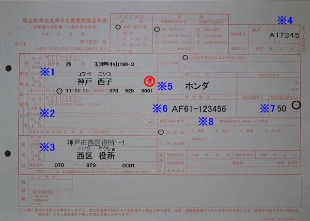 長田市税事務所 軽自動車税廃車申告書兼標識返納書 記入例