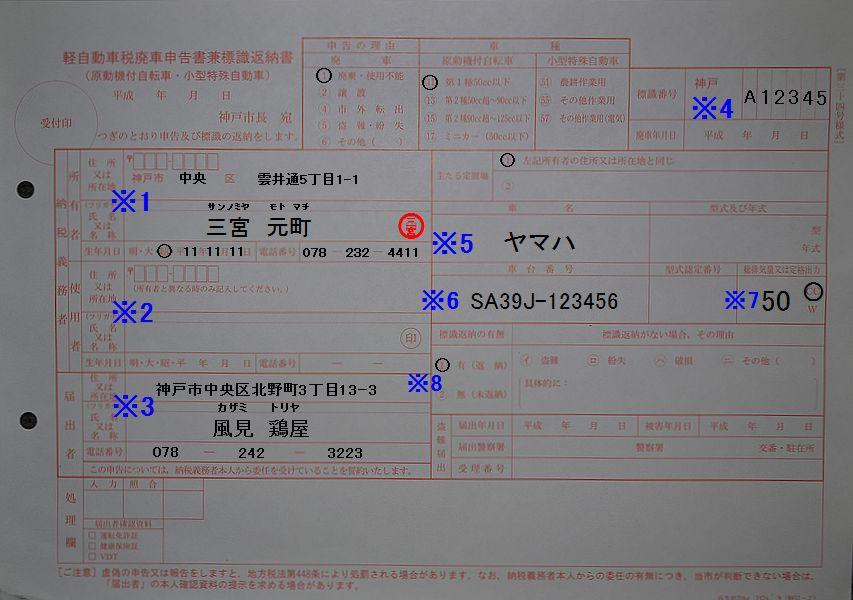 神戸市中央市税事務所 軽自動車廃車申告書兼標識返納書 記入例
