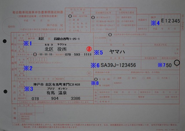 神戸市北市税事務所 軽自動車廃車申告書兼標識返納書 記入例