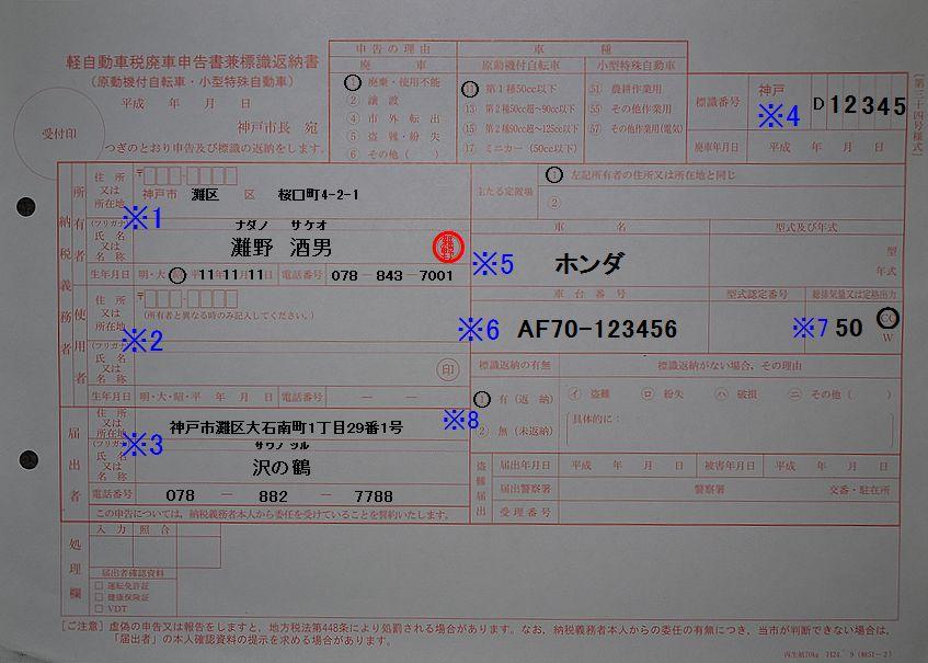 神戸市灘市税事務所 軽自動車廃車申告書兼標識返納書 記入例