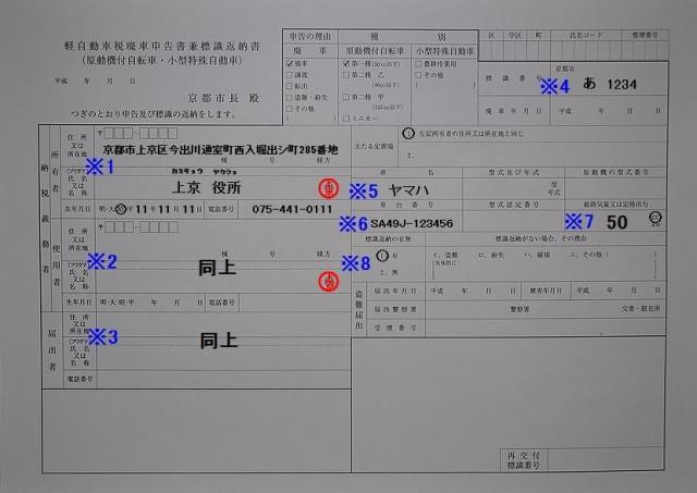 上京区役所 軽自動車税廃車申告書兼標識返納書の記入例