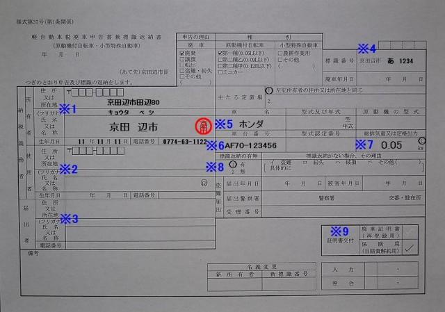 京田辺市役所 税務課 軽自動車税廃車申告書兼標識返納書 記入例
